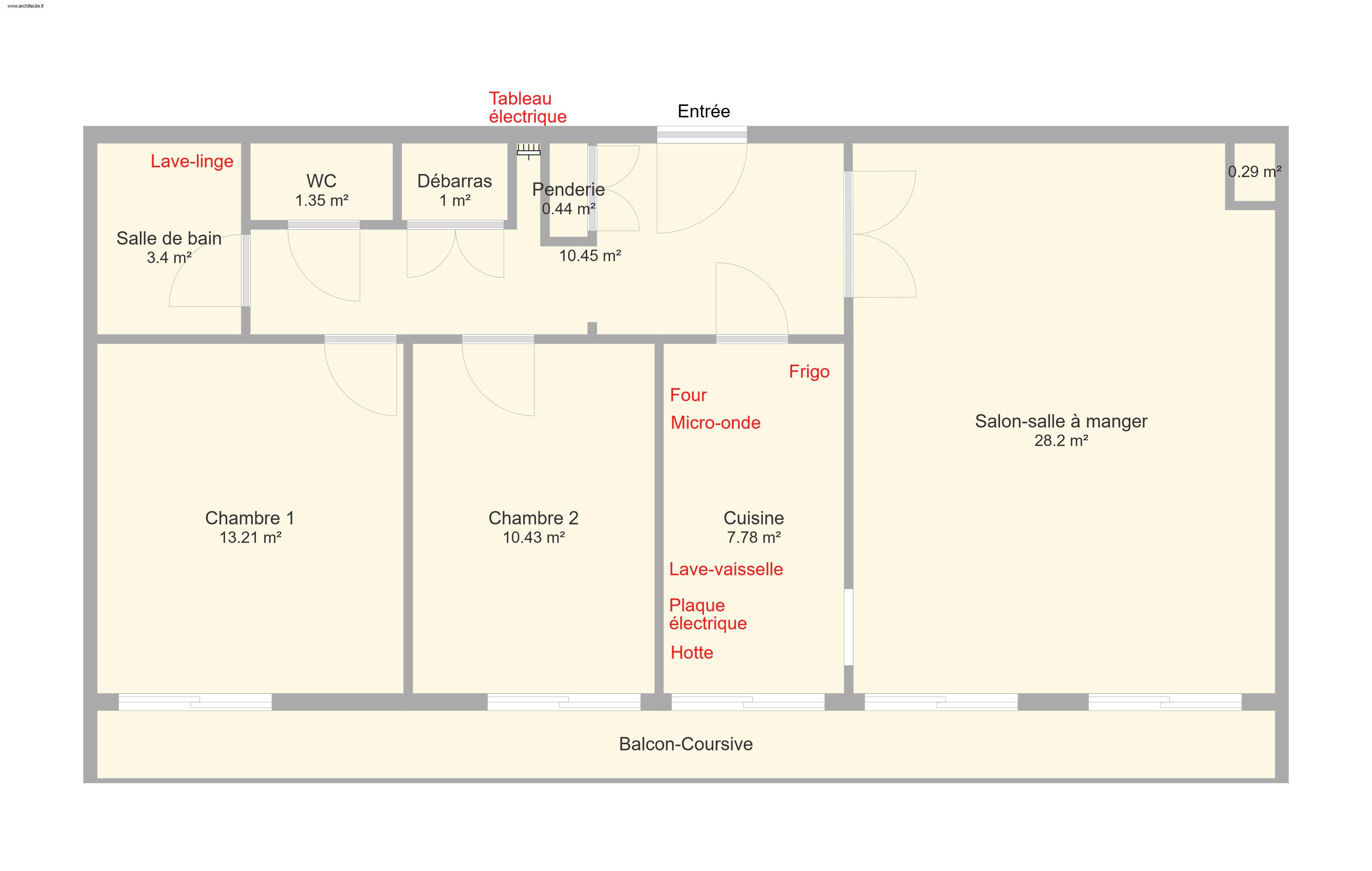 Plan de l'appartement (3ème étage)